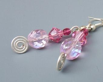 Romantic pink earrings, Swarovski crystal feminine jewelry, elegant gift for mom
