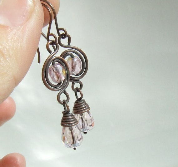 Pink copper earrings, rustic copper wire wrapped handmade jewelry