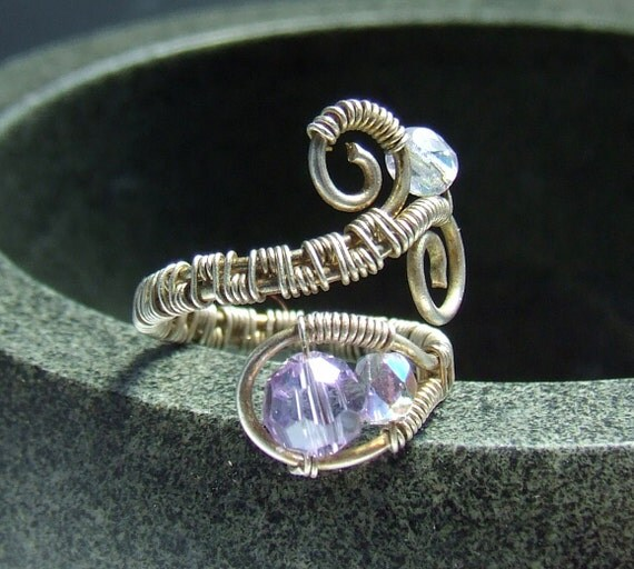 Handmade purple ring with crystallized glass beads sterling silver plated wire wrapped jewelry