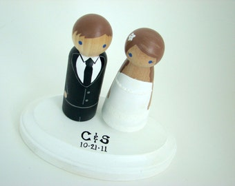 Custom Wedding Cake Toppers w/ Pedestal - Hand Painted Wood Peg Doll Cake Toppers