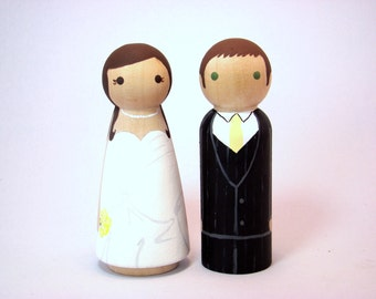 Custom Peg Doll Wedding Cake Toppers - Hand Painted Wood Peg Cake Toppers