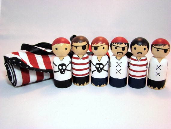 IN STOCK - Pirate Gang Roll-Up Case w/ 6 Wooden Pirate Peg Dolls