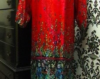 Vintage Diane Freis Pleated Dress with Sash FREE SHIPPING