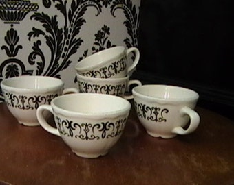 Five Vintage Homer Laughlin Coffee Cups