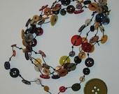 Multi-Color Button Rope Necklace / Bracelet