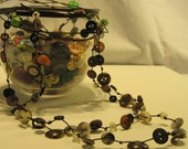 Earthy Brown Button Rope Necklace / Bracelet