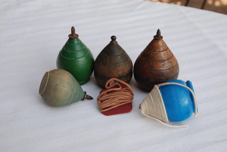 Vintage Wooden Spinning Tops Set 2