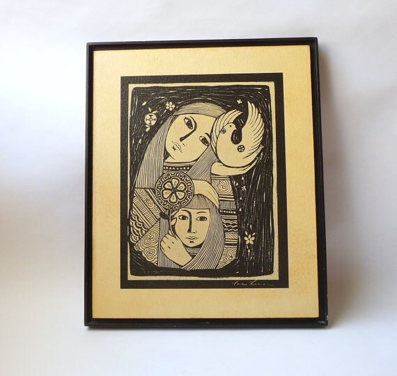 1970s Hippie Mother and Child Framed Woodcut Print