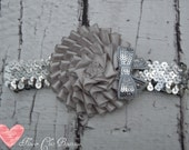Valentines Day-Silver Pleat Flower Adorned With Silver Sequin Bow Attahed To Silver Sequin Headband-Newborn-Toddler