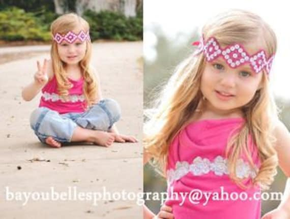 Girls Beautiful Hot Pink Diamond Hippie Band With Adjustable Tie And Sash