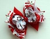 Penguin Christmas Hair Bow - READY TO SHIP