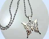 Stainless Steel Carved Butterfly Pendant Necklace