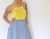 Vintage Gingham Blue and White Maxi Skirt with Floral Trim 80s Small Medium