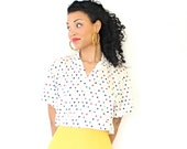 Vintage Short Sleeve Polka Dot Blouse Womens Shirt Primary Colors Medium Large