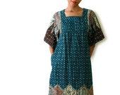 Vintage Caftan Dashiki Maxi Dress Teal and Brown Ethnic Small Medium 70s