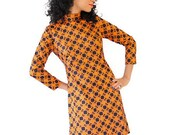 Vintage Dress 60s Geometric Pattern Orange Olive Blue Mod