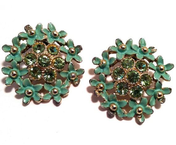 Upcycled Plugs Vintage 1960s Mint Green Enamel Rhinestone Gauged Stretched Ears Custom Size 0 00