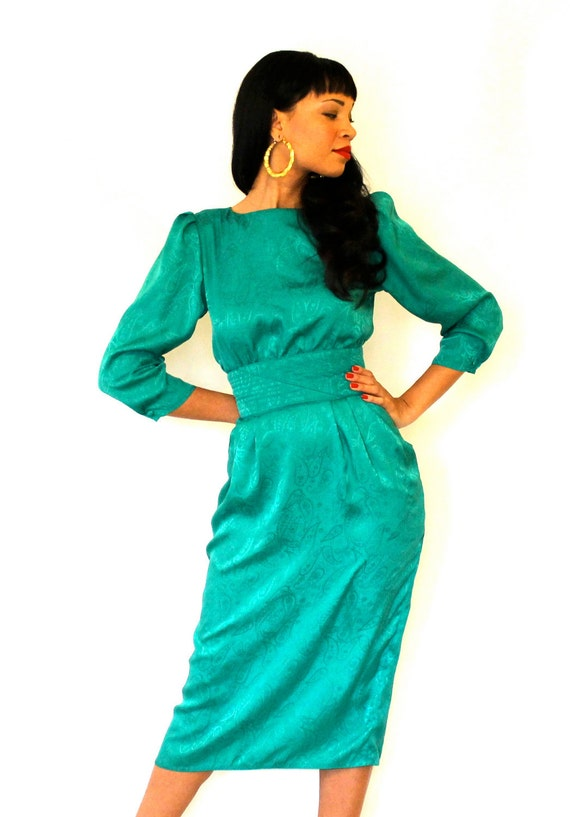 Vintage Wiggle Dress Emerald Green Maggy Boutique Small Size 4