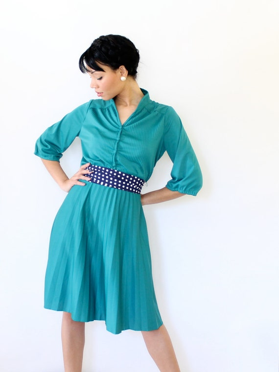 Reserved for Kaat- Vintage 70s Dress Teal Pleated 3/4 Length Sleeves Medium Large