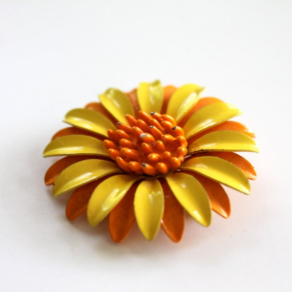 60s Enamel Flower Brooch Orange and Yellow Sunflower or Daisy Vintage Pin