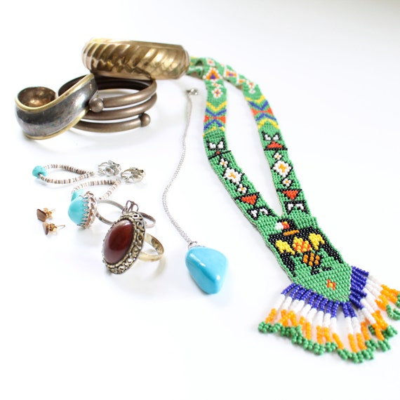 Instant Bohemian Vintage Jewelry Collection Boho Hippie Tribal Lot of Accessories