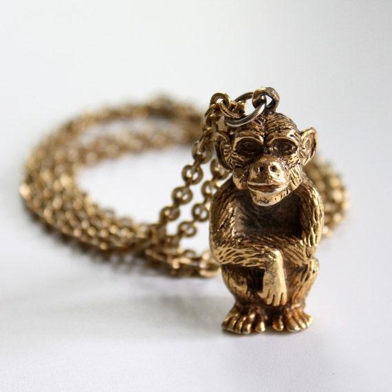 70s Vintage Gold Tone Necklace with Monkey Pendant