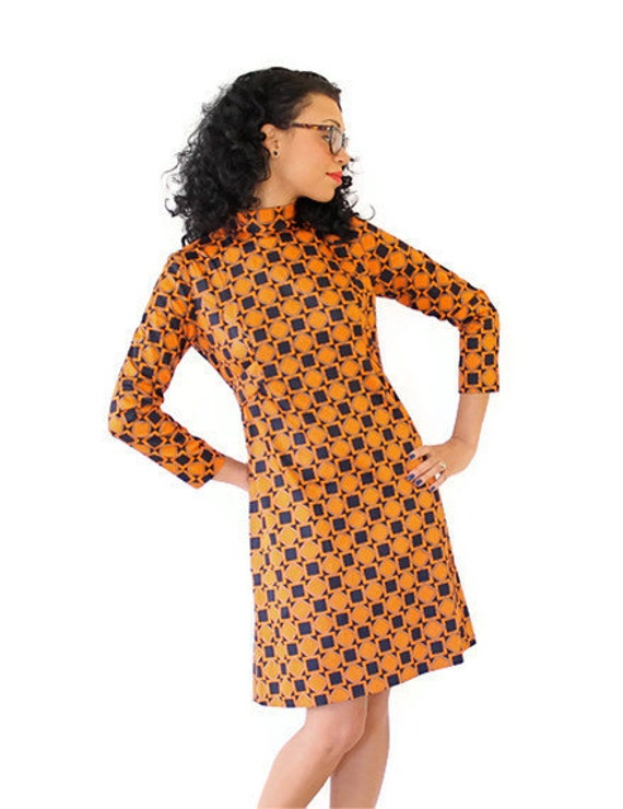Vintage Dress 60s Geometric Pattern Orange Olive Blue Mod