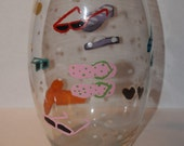 Available for a Limited Time-Summer time glass vase has hand painted flip flops and sunglasses