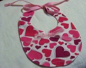 Lots of Hearts Infant Baby Small Bib Red Pink White