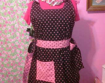 Full Size Fully Lined Apron Feminine Pink Black Polka Dots