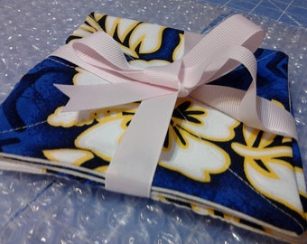 Coasters, Hawaiian Print Fabric - Recycled