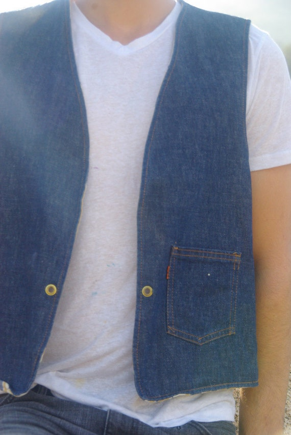 1970s Reversible 'big E' Levis Vest Mens M/L