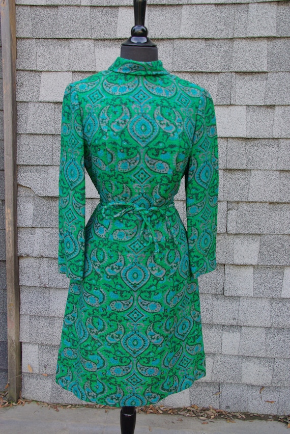 1960s Green Tweed Lined Dress M