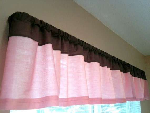 Baby girl pink and brown nursery curtain valance cafe curtain, customize with any colors