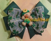 Shamrock Clover Bear St Patrick's Patty's Day Hair Bow Barrette Clip