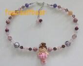 Ballerina Ballet Girl Czech Glass Bead Necklace Girls Handmade Custom Clay