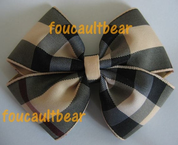 Tan Nova Check Plaid Hair Bow Barrette Clip Handmade