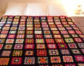Lovely and Large Vintage Granny Squares Afghan Quilt-80 by 104 Inches