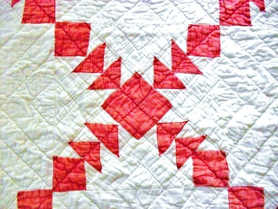Charming Vintage Flying Geese Red and White Quilt