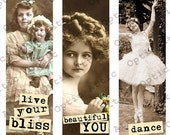Vintage Children with Sayings Photos 1 x 3 Inch Rectangle Instant Download Digital Collage Sheet OpticAttic 245