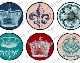 French Crowns 1 x 1 Inch Round Inchies Instant Download Digital Collage Sheet OpticAttic 116