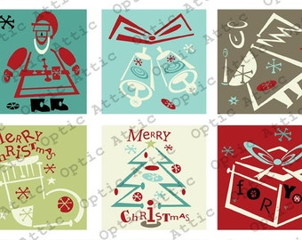 Retro Christmas 1 x 1 Inch Square Inchies Instant Download Digital Collage Sheet OpticAttic 194