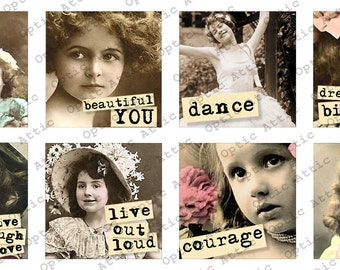 Vintage Children with Sayings 1 x 1 Inch Square Inchies All Different Instant Download Digital Collage Sheet OpticAttic 254