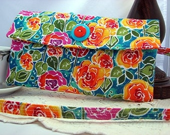 Quilted womens wallet perfect wallet, bright floral quilted print