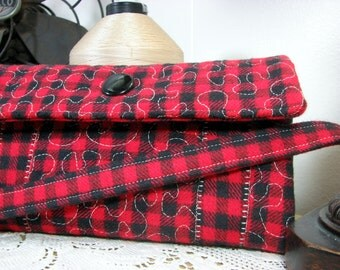 Clutch wallet, womens wallet, fabric wallet, handmade quilted wallet, buffalo plaid flannel, vintage button