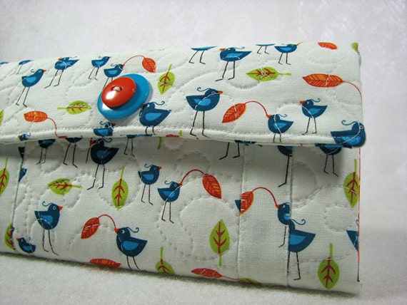 Perfect wallet womens wallet blue birds and orange polka dot handmade