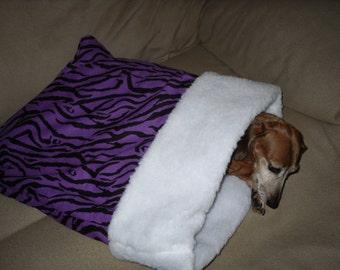 Small Dog Purple Zebra Print Snuggle Sack / Sleeping Bag FREE SHIPPING within the US
