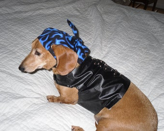 Small Dog Biker Dog Studded Pleather Vest with Flame Doggie Doo Rag