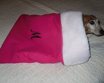 Small Dog / Dachshund Personalized / Monogrammed Snuggle Sack / Bag     You Pick Solid Color / Initial FREE SHIPPING within the US