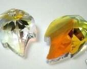 1pc 32mm x 20mm Swarovski Leaf Crystal AB 8805 Pendant Top Drill Loose Beads jewelry making